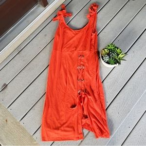 Venus Orange Criss Cross Lace up Studded Dress
